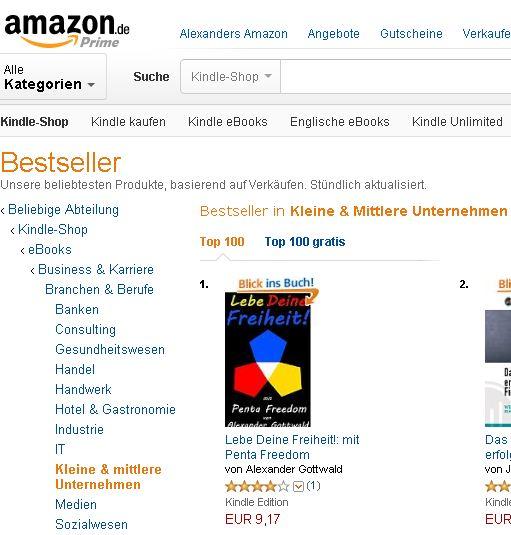 Lebe Deine Freiheit Platz 1 kleine & mittlere Unternehmen Amazon Kindle